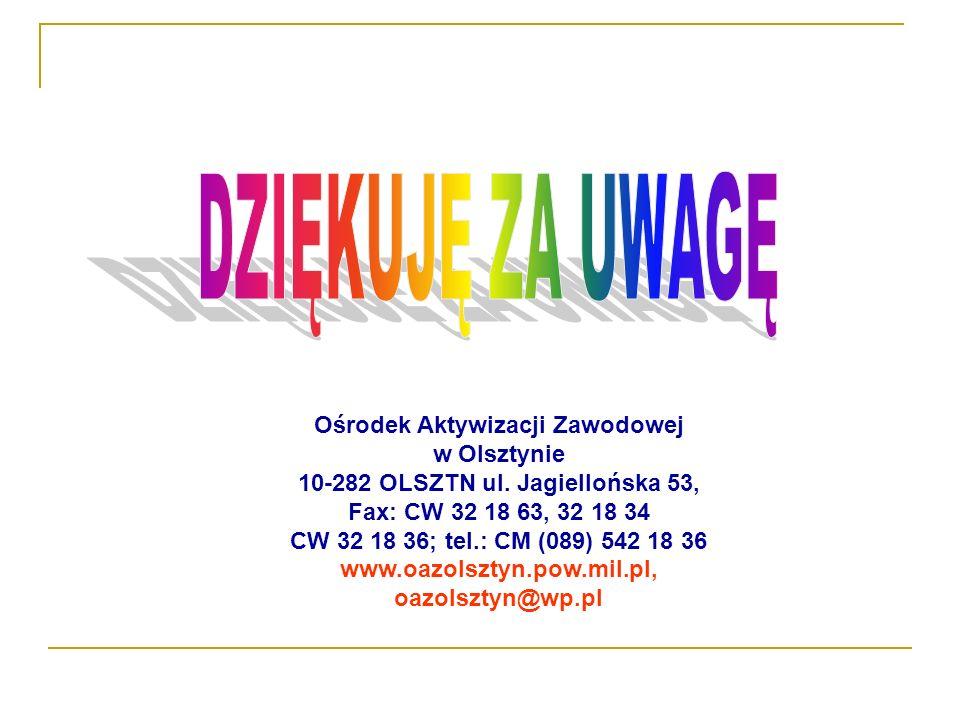 DZIĘKUJĘ ZA UWAGĘ Ośrodek Aktywizacji Zawodowej w Olsztynie