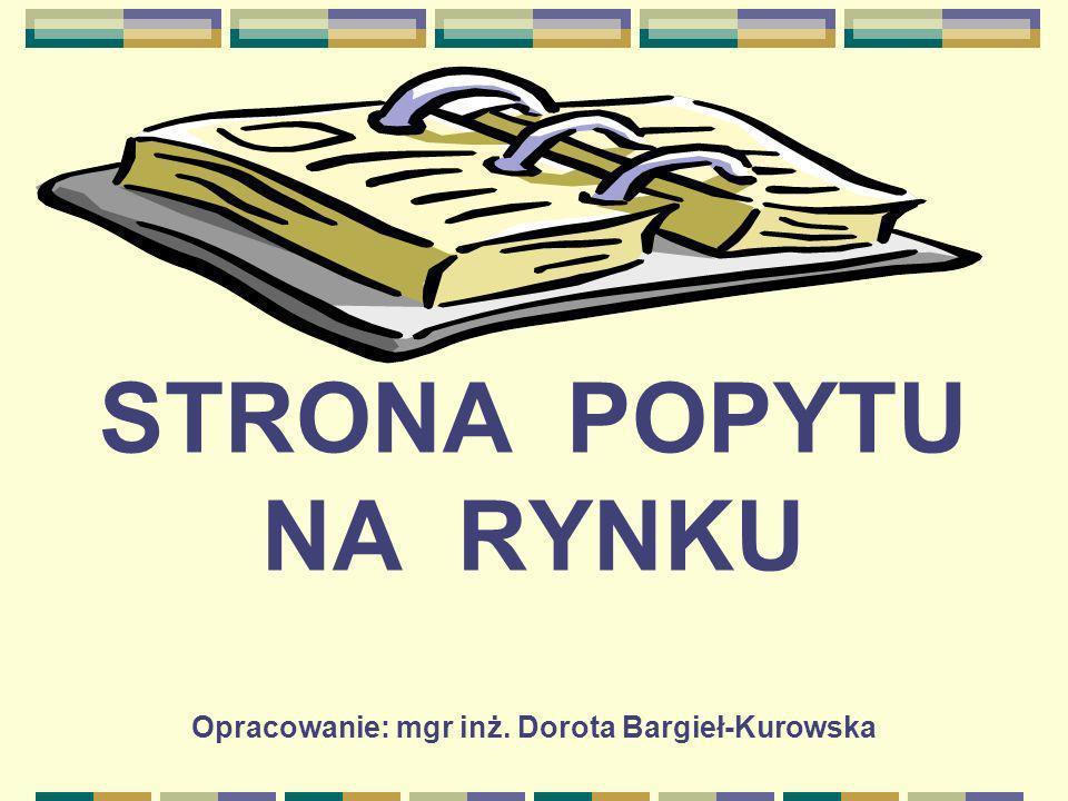 STRONA POPYTU NA RYNKU Opracowanie: mgr inż. Dorota Bargieł-Kurowska