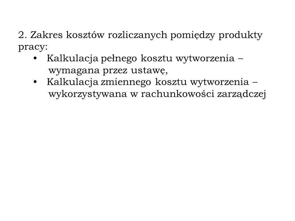 2. Zakres kosztów rozliczanych pomiędzy produkty pracy: