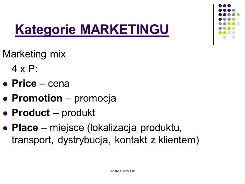 Kategorie MARKETINGU Marketing mix 4 x P: Price – cena