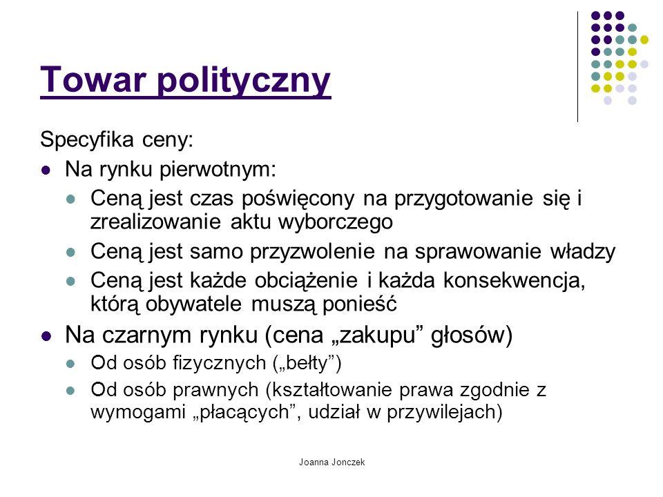 """Towar polityczny Na czarnym rynku (cena """"zakupu głosów)"""