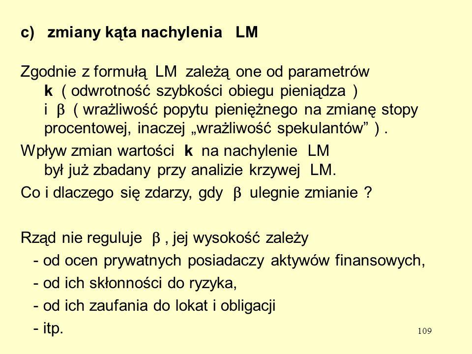 c) zmiany kąta nachylenia LM