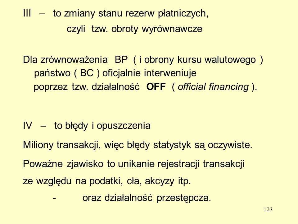 III – to zmiany stanu rezerw płatniczych,