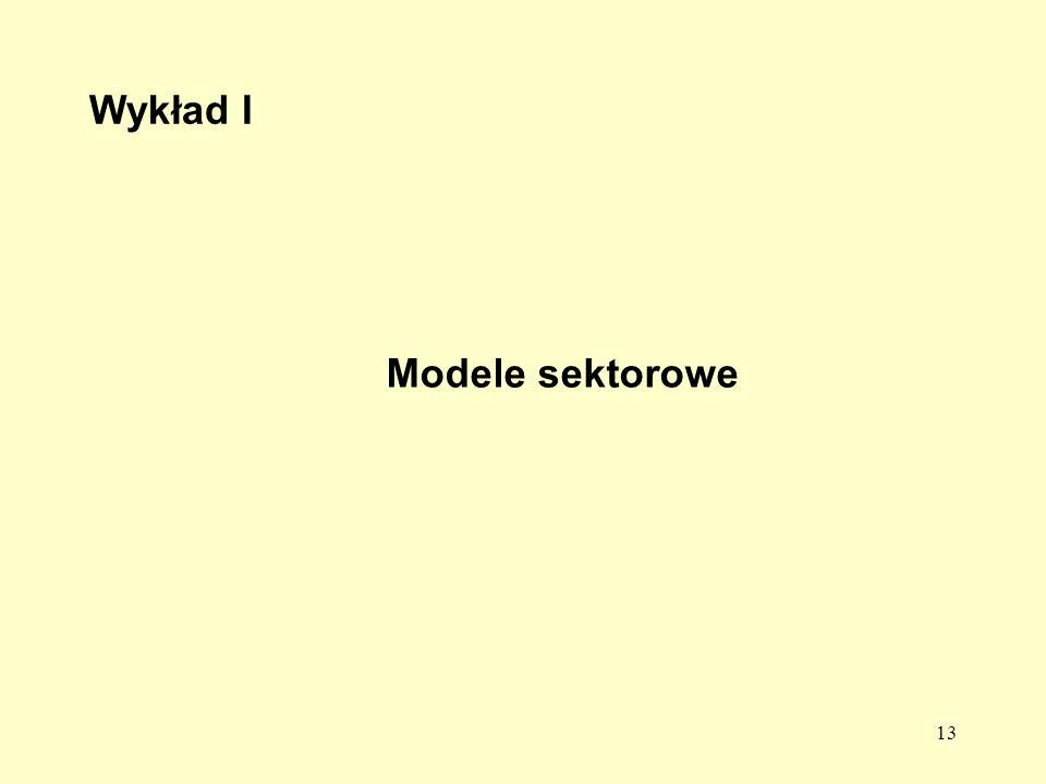 Wykład I Modele sektorowe