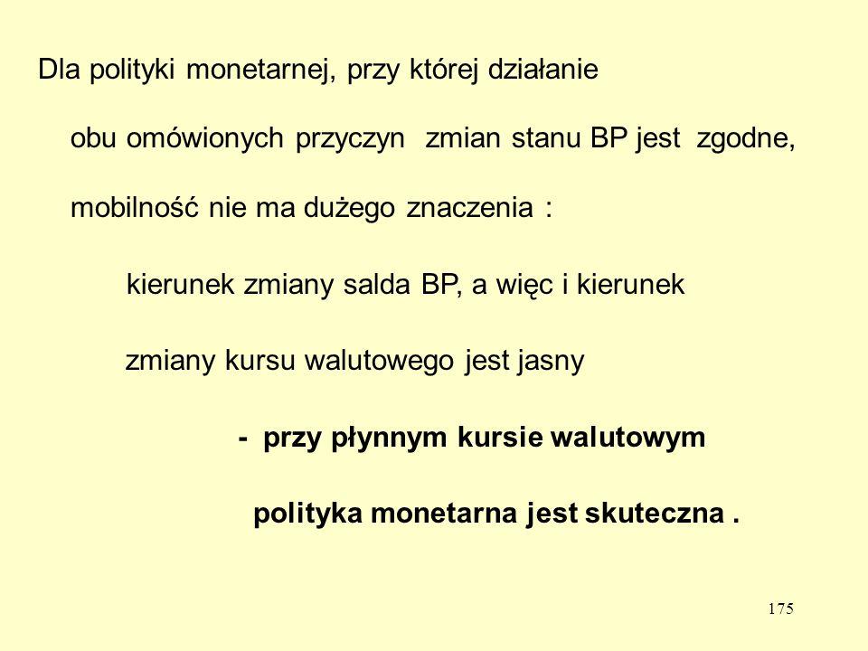 Dla polityki monetarnej, przy której działanie obu omówionych przyczyn zmian stanu BP jest zgodne, mobilność nie ma dużego znaczenia :
