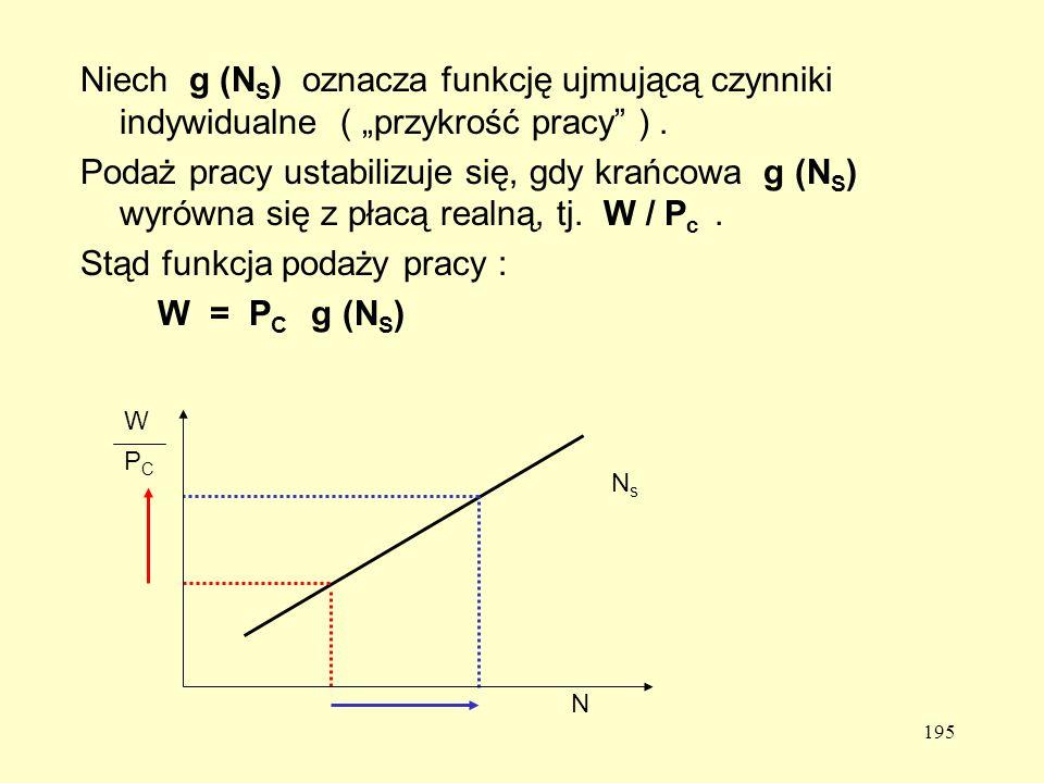 Stąd funkcja podaży pracy : W = PC g (NS)