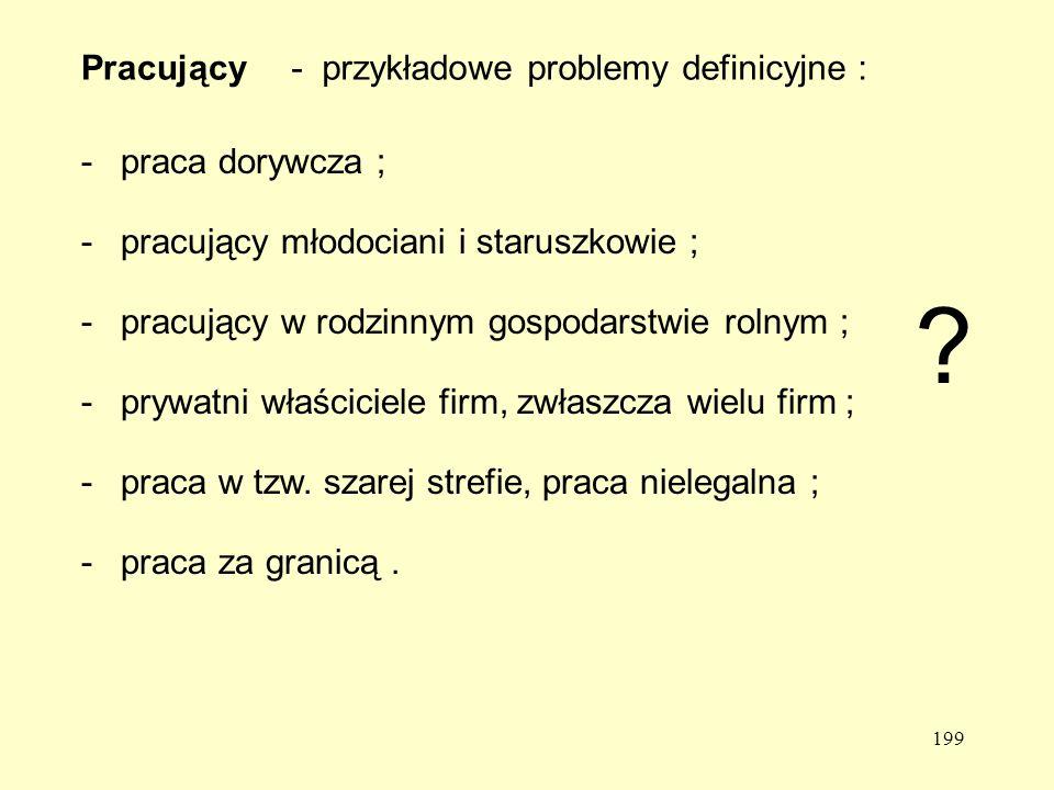 Pracujący - przykładowe problemy definicyjne : - praca dorywcza ;