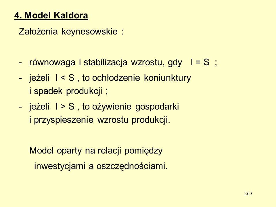 4. Model Kaldora Założenia keynesowskie : równowaga i stabilizacja wzrostu, gdy I = S ;
