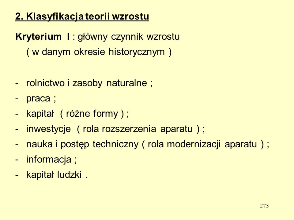 2. Klasyfikacja teorii wzrostu