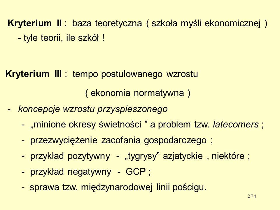 Kryterium II : baza teoretyczna ( szkoła myśli ekonomicznej ) - tyle teorii, ile szkół !