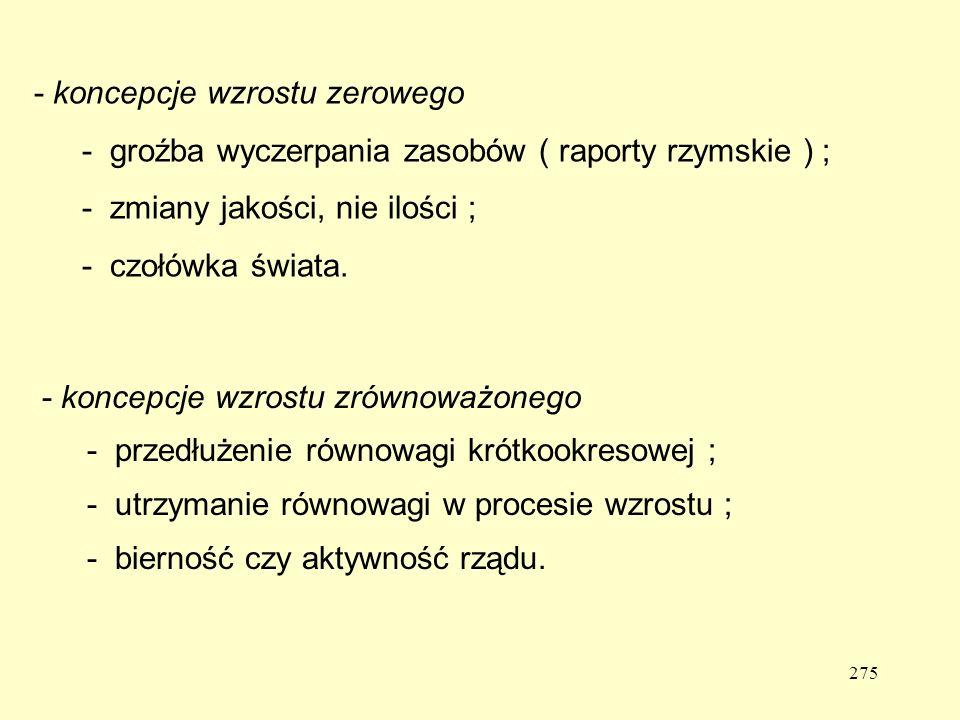 - koncepcje wzrostu zerowego