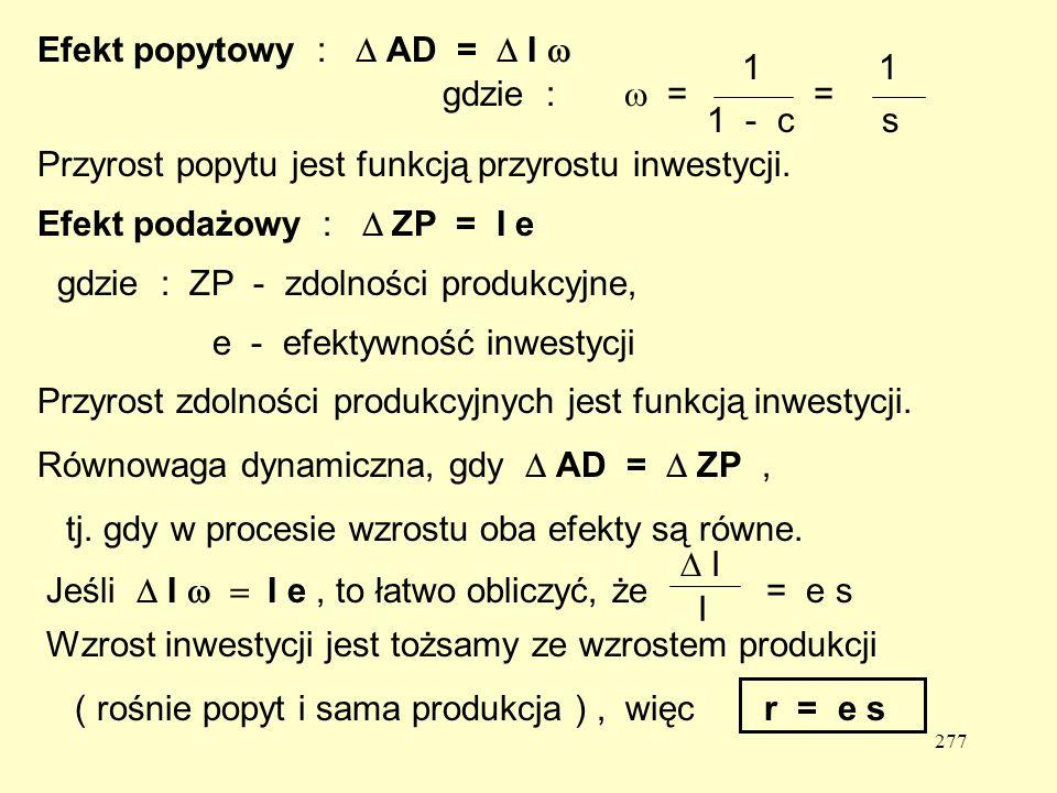 Efekt popytowy : D AD = D I w
