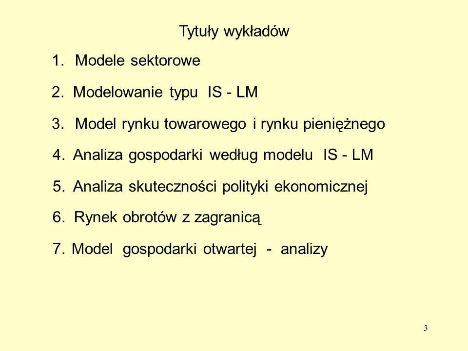 Tytuły wykładów 1. Modele sektorowe. 2. Modelowanie typu IS - LM. 3. Model rynku towarowego i rynku pieniężnego.