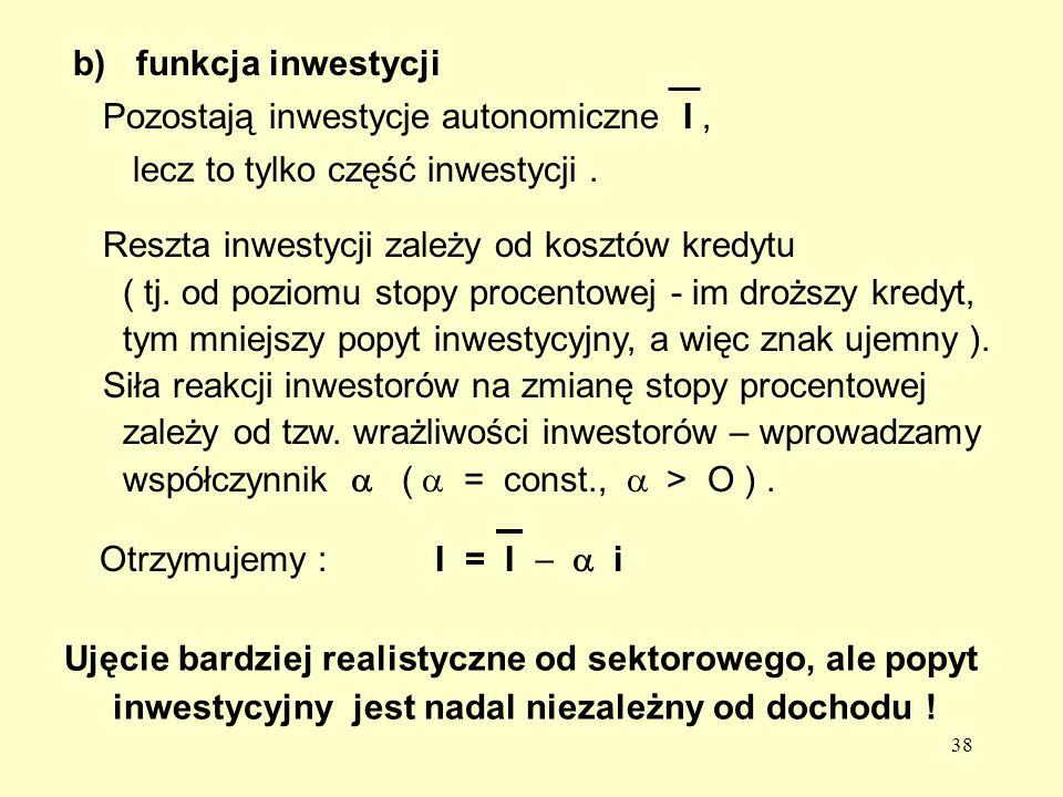 b) funkcja inwestycji Pozostają inwestycje autonomiczne I , lecz to tylko część inwestycji . Reszta inwestycji zależy od kosztów kredytu.