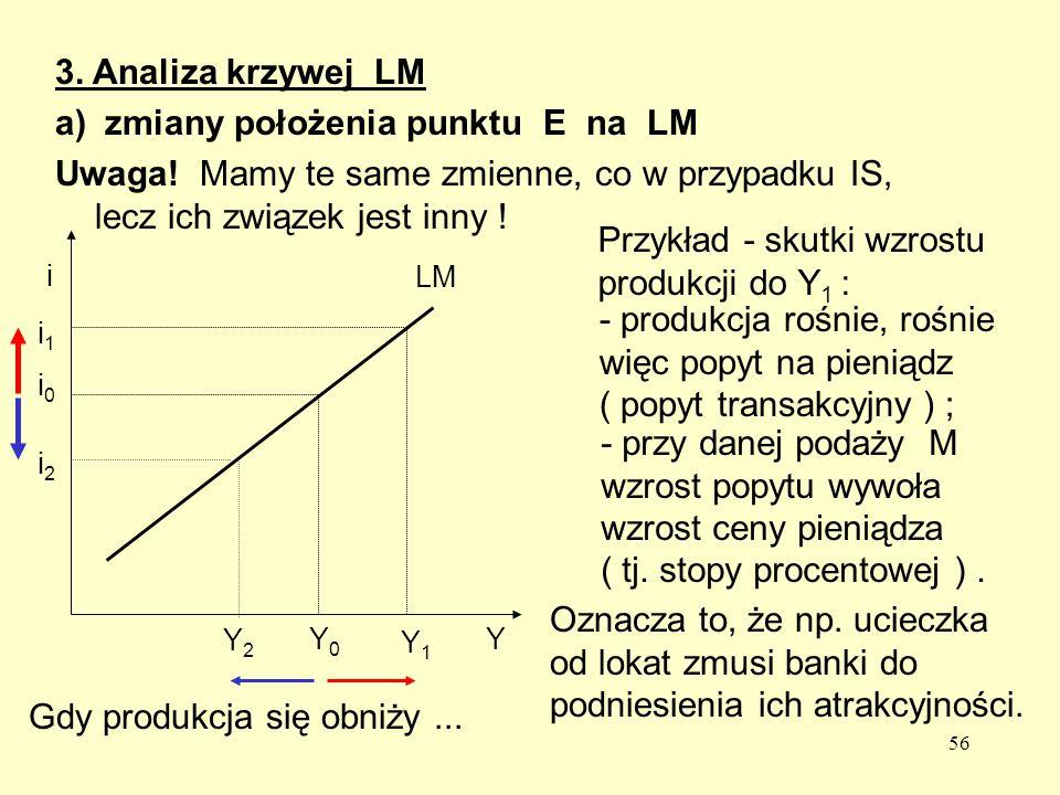a) zmiany położenia punktu E na LM