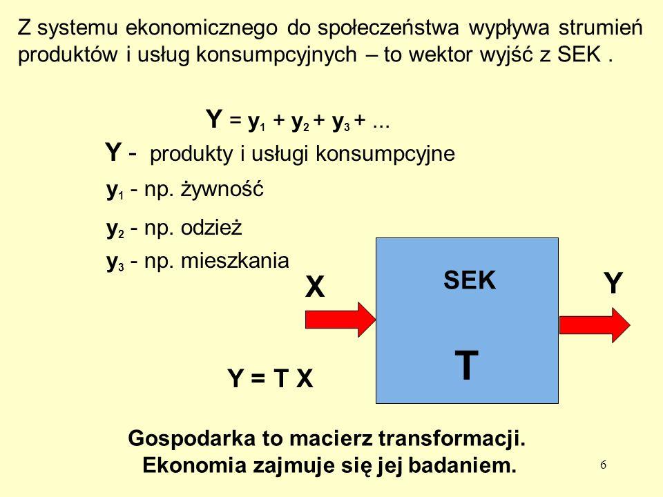 T Y X Y = y1 + y2 + y3 + ... Y - produkty i usługi konsumpcyjne SEK