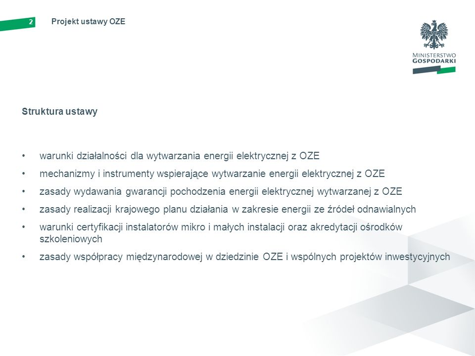 warunki działalności dla wytwarzania energii elektrycznej z OZE