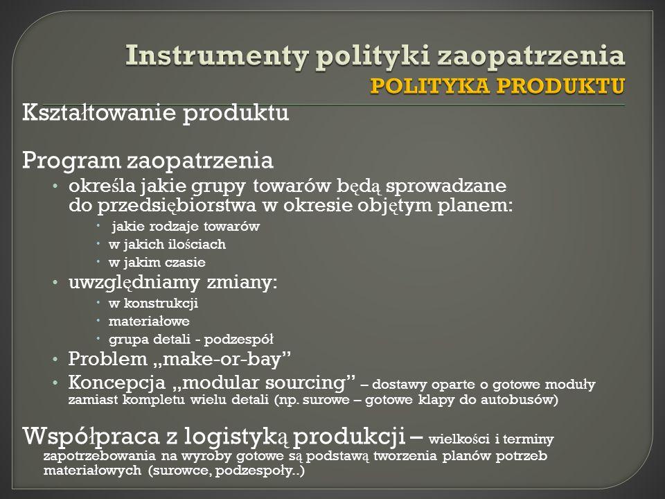 Instrumenty polityki zaopatrzenia POLITYKA PRODUKTU