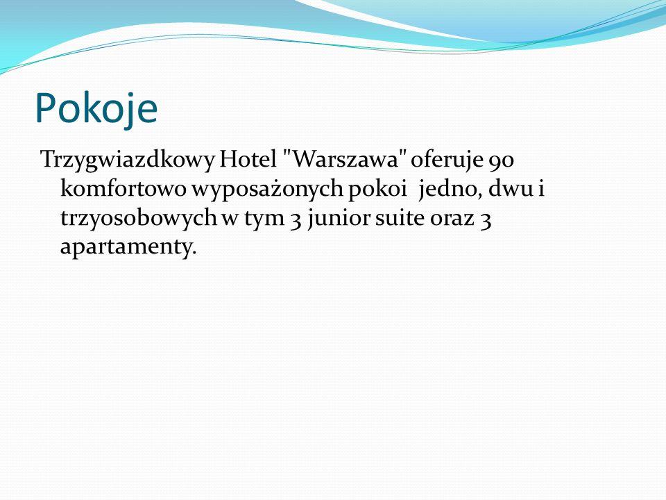 Pokoje Trzygwiazdkowy Hotel Warszawa oferuje 90 komfortowo wyposażonych pokoi jedno, dwu i trzyosobowych w tym 3 junior suite oraz 3 apartamenty.