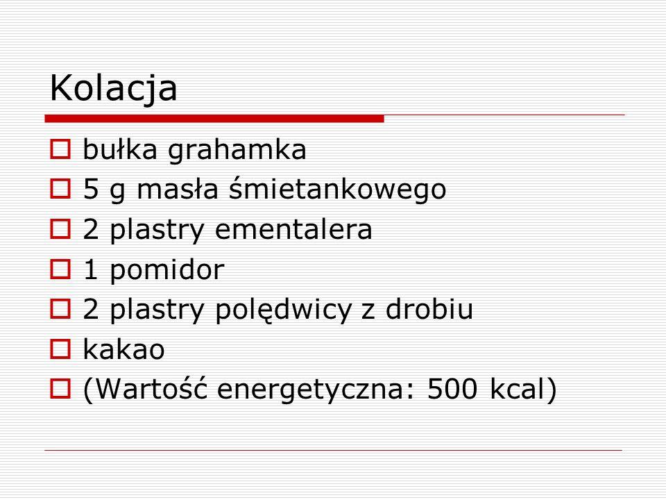 Kolacja bułka grahamka 5 g masła śmietankowego 2 plastry ementalera