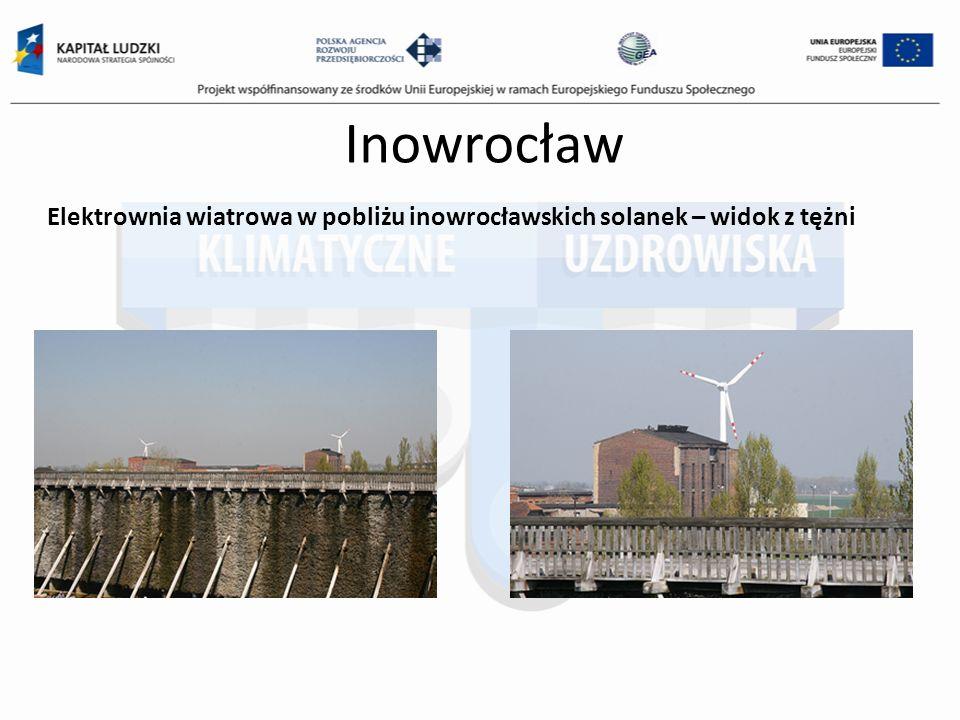 Inowrocław Elektrownia wiatrowa w pobliżu inowrocławskich solanek – widok z tężni