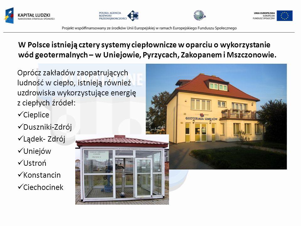 W Polsce istnieją cztery systemy ciepłownicze w oparciu o wykorzystanie wód geotermalnych – w Uniejowie, Pyrzycach, Zakopanem i Mszczonowie.