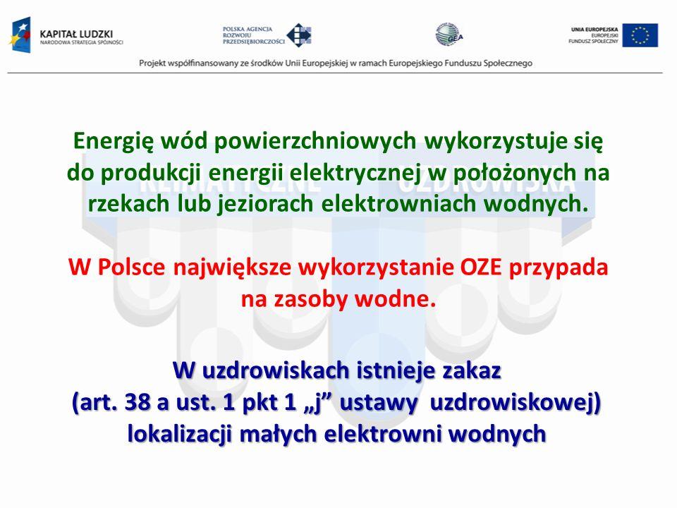W Polsce największe wykorzystanie OZE przypada na zasoby wodne.