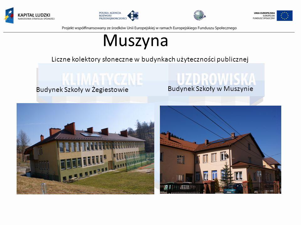 Muszyna Liczne kolektory słoneczne w budynkach użyteczności publicznej