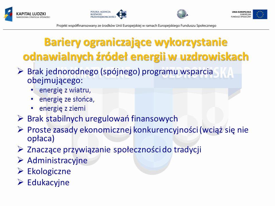 Bariery ograniczające wykorzystanie odnawialnych źródeł energii w uzdrowiskach