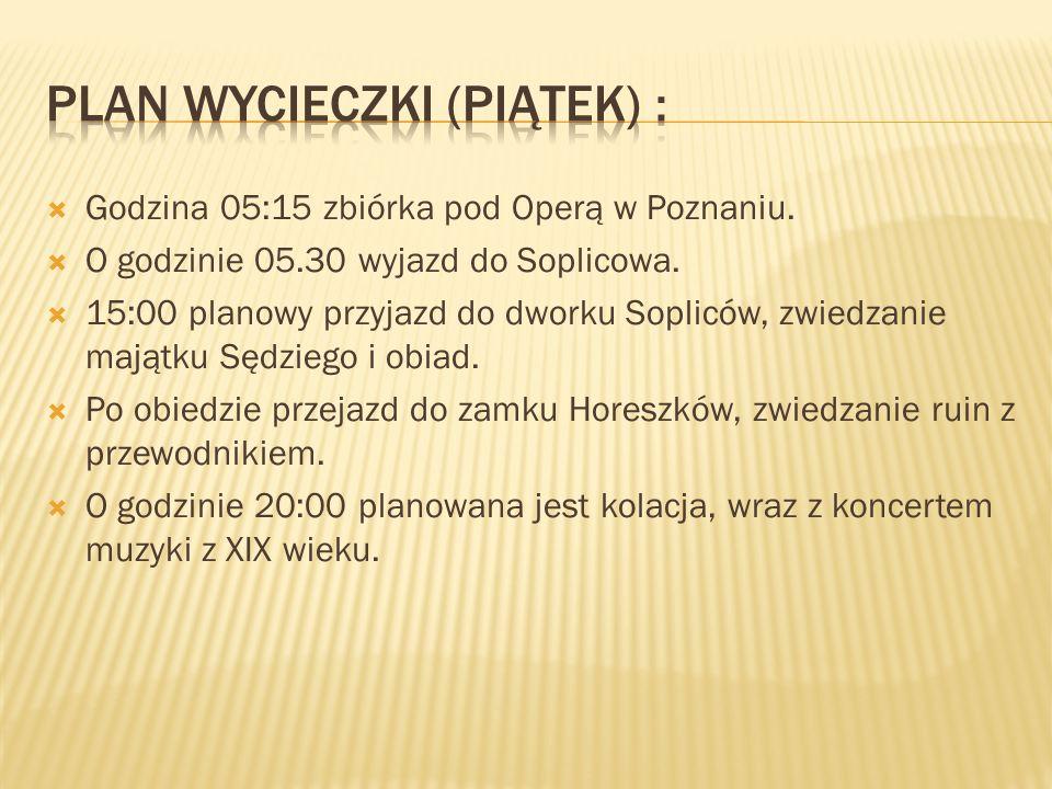 Plan wycieczki (Piątek) :