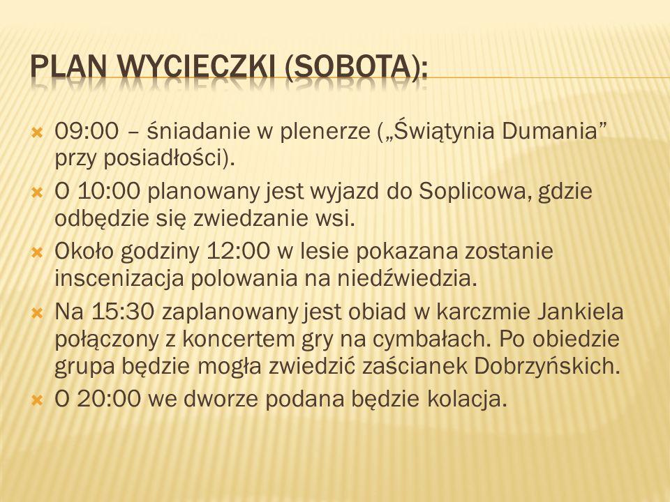 Plan wycieczki (sobota):
