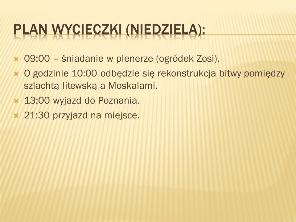Plan wycieczki (niedziela):