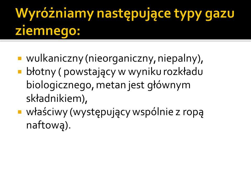 Wyróżniamy następujące typy gazu ziemnego: