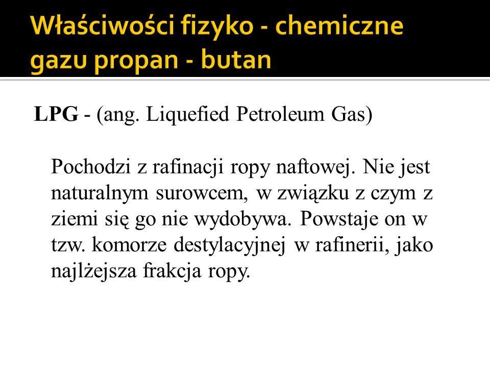 Właściwości fizyko - chemiczne gazu propan - butan
