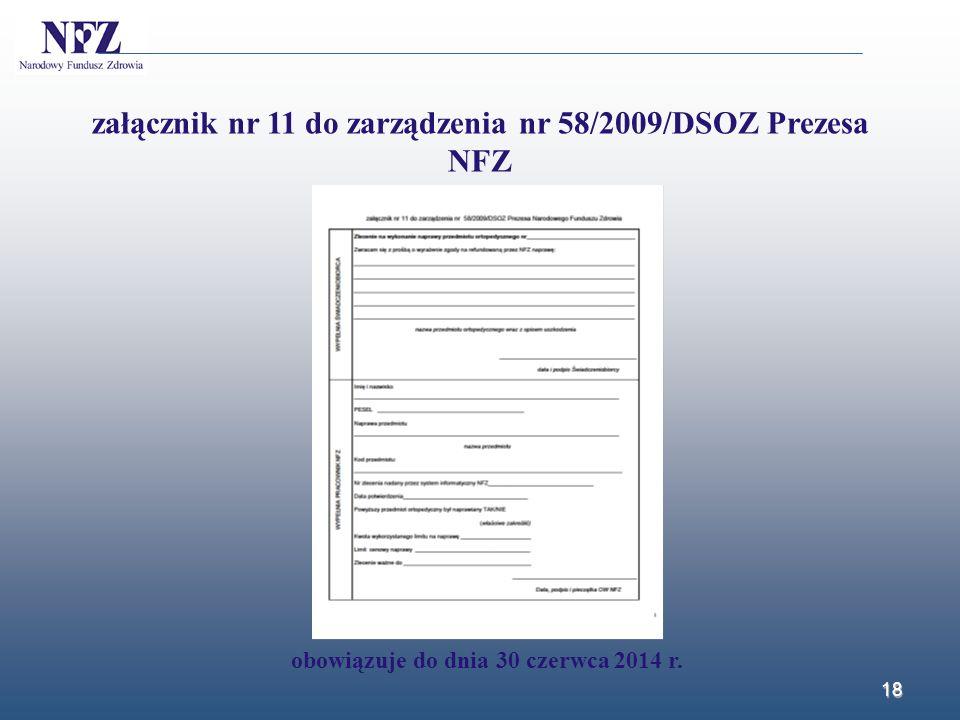 załącznik nr 11 do zarządzenia nr 58/2009/DSOZ Prezesa NFZ