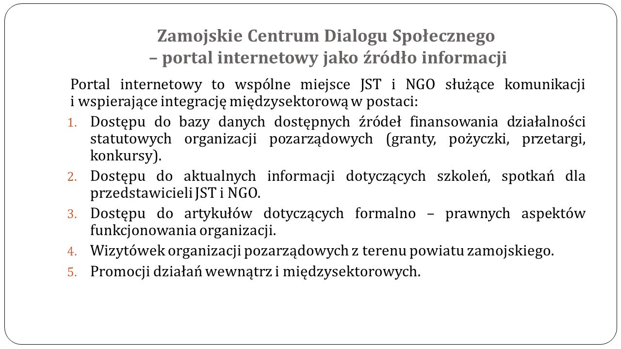 Zamojskie Centrum Dialogu Społecznego – portal internetowy jako źródło informacji