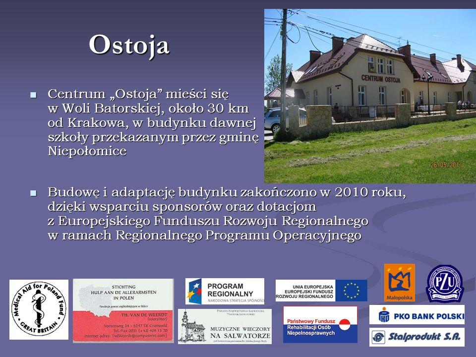 """Ostoja Centrum """"Ostoja mieści się w Woli Batorskiej, około 30 km od Krakowa, w budynku dawnej szkoły przekazanym przez gminę Niepołomice."""
