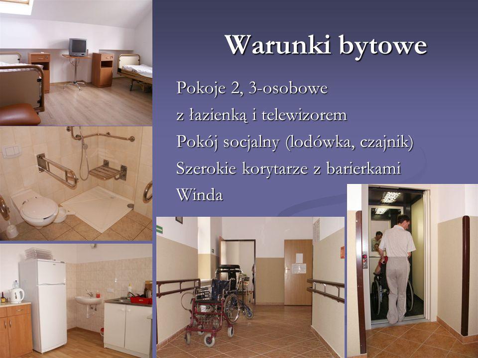 Warunki bytowe Pokoje 2, 3-osobowe z łazienką i telewizorem