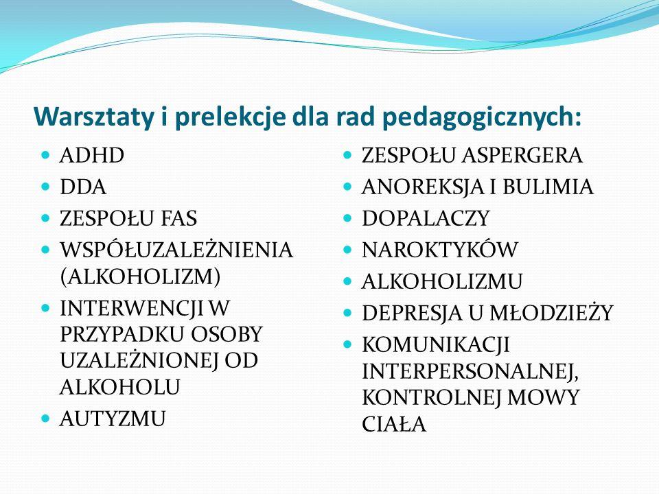 Warsztaty i prelekcje dla rad pedagogicznych: