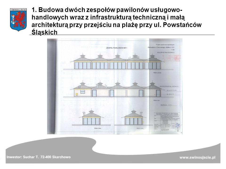 1. Budowa dwóch zespołów pawilonów usługowo-handlowych wraz z infrastrukturą techniczną i małą architekturą przy przejściu na plażę przy ul. Powstańców Śląskich