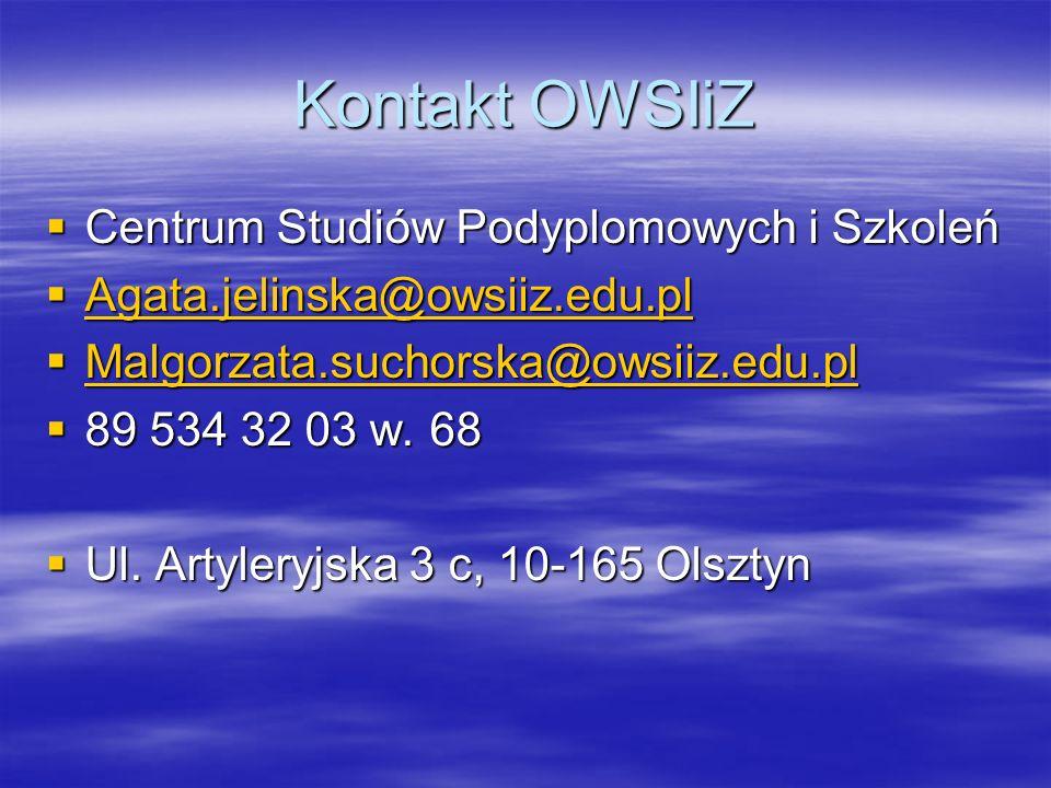 Kontakt OWSIiZ Centrum Studiów Podyplomowych i Szkoleń