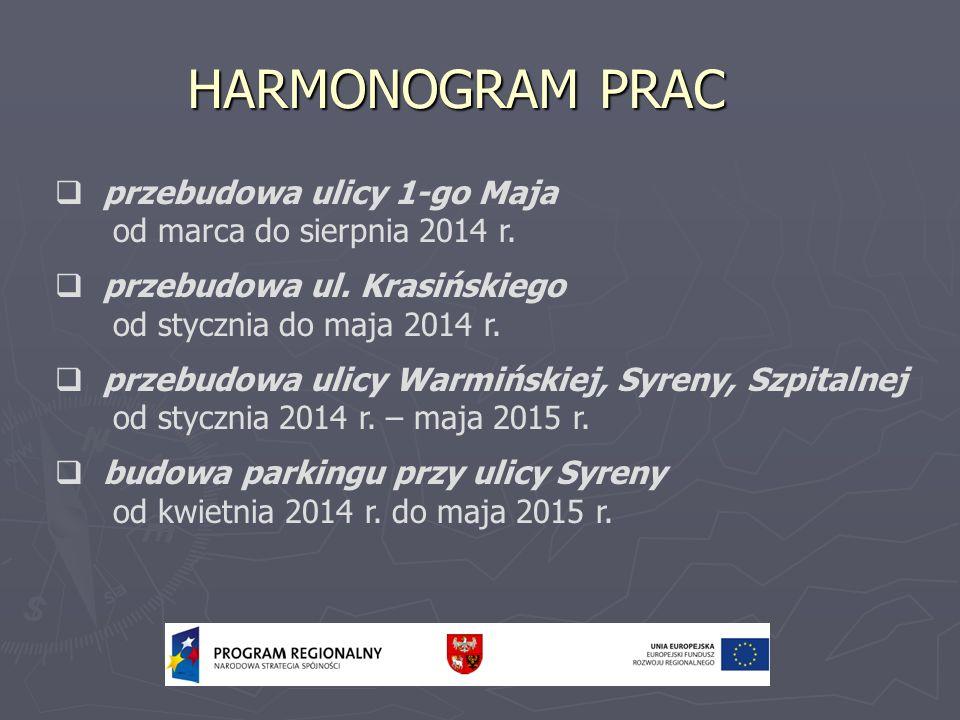 HARMONOGRAM PRAC przebudowa ulicy 1-go Maja