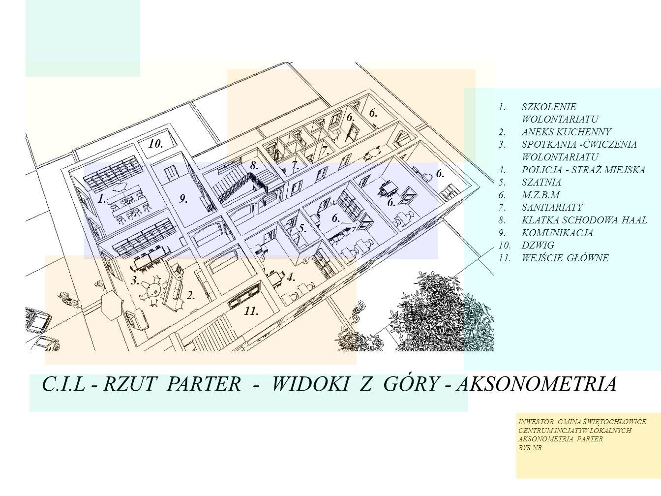 C.I.L - RZUT PARTER - WIDOKI Z GÓRY - AKSONOMETRIA