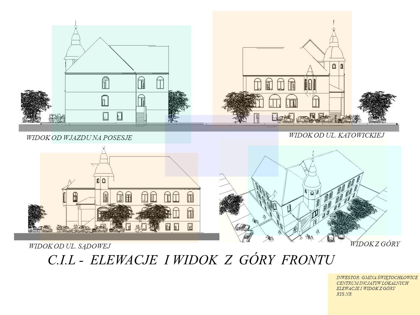 C.I.L - ELEWACJE I WIDOK Z GÓRY FRONTU