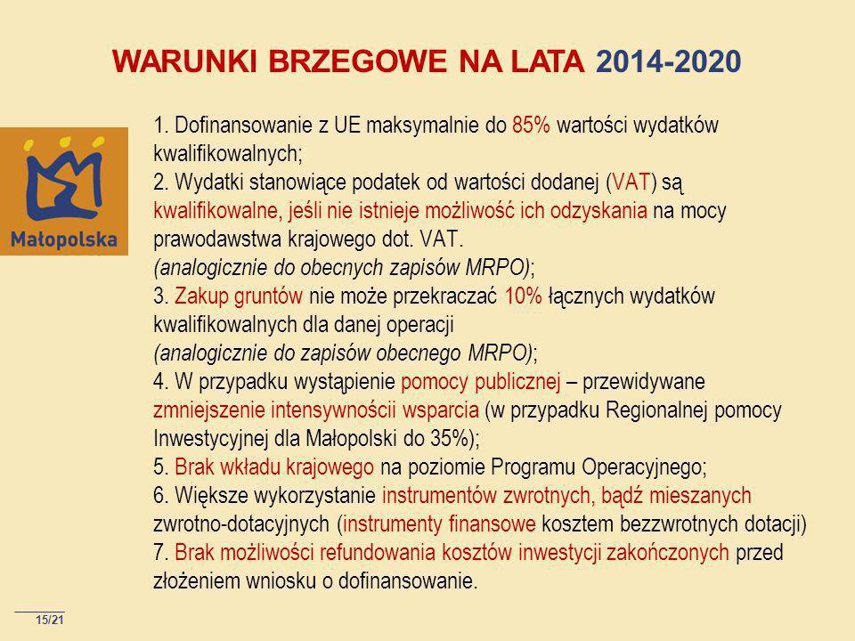WARUNKI BRZEGOWE NA LATA 2014-2020