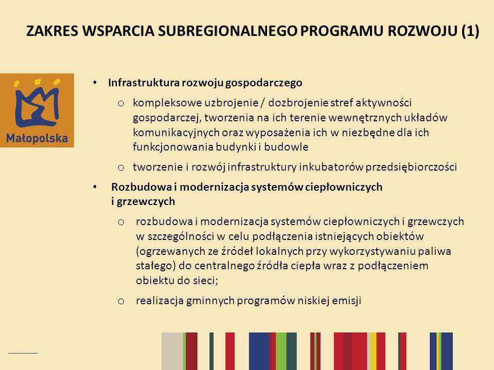 ZAKRES WSPARCIA SUBREGIONALNEGO PROGRAMU ROZWOJU (1)