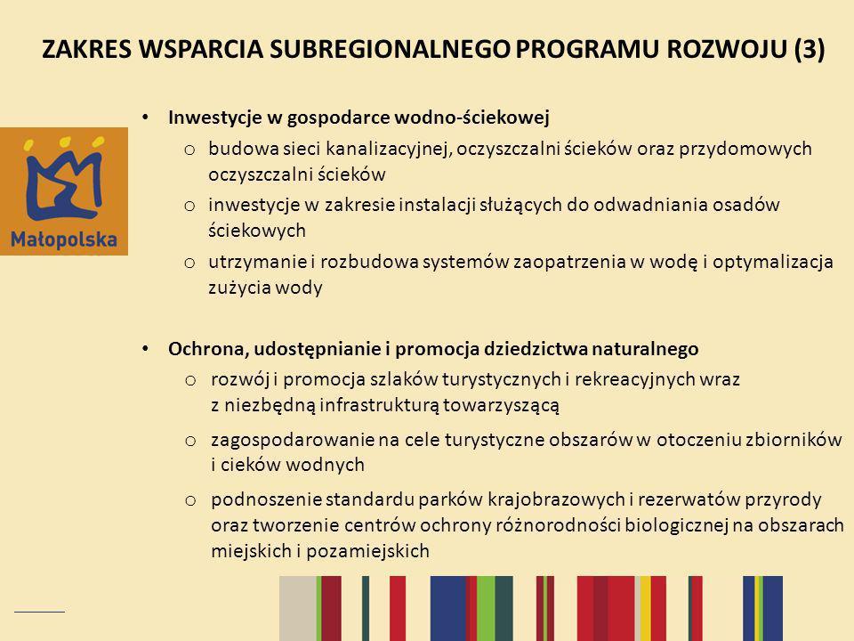 ZAKRES WSPARCIA SUBREGIONALNEGO PROGRAMU ROZWOJU (3)