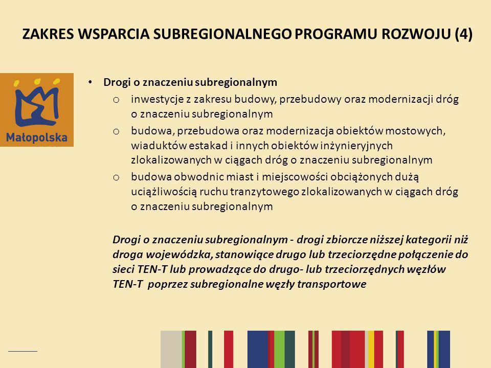 ZAKRES WSPARCIA SUBREGIONALNEGO PROGRAMU ROZWOJU (4)