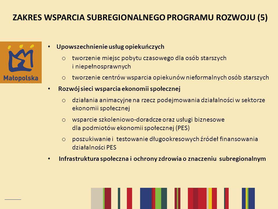 ZAKRES WSPARCIA SUBREGIONALNEGO PROGRAMU ROZWOJU (5)