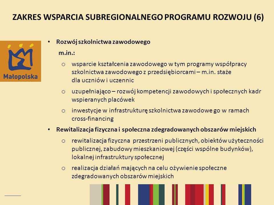 ZAKRES WSPARCIA SUBREGIONALNEGO PROGRAMU ROZWOJU (6)